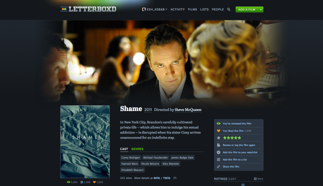 A typical movie page on Letterboxd.